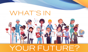 What's in your future? cartoon image of various career professionals