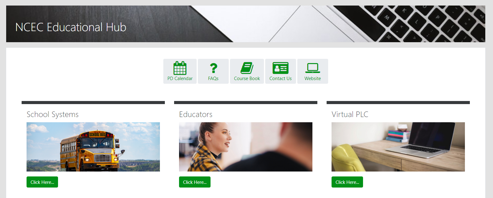 picture of keyboard and icons for the NCEC Educational Hub website