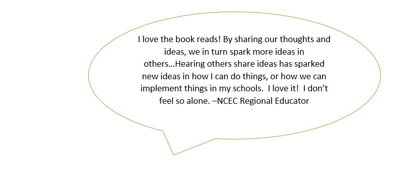 I love the book reads! By sharing our thoughts and ideas, we in turn spark more ideas in others…Hearing others share ideas has sparked new ideas in how I can do things, or how we can implement things in my schools. I love it! I don't feel so alone.