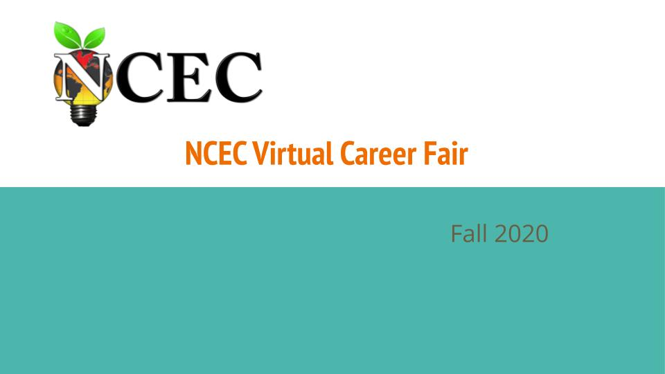 NCEC Fall 2020 Virtual Career Fair Sign