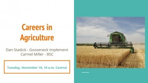 Careers in Agriculture title slide with image of john deere combine in wheat field