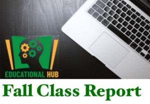 ND Educational Hub log on computer background titled Fall Class Report